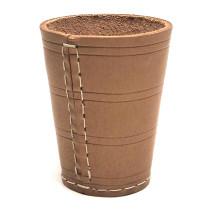 Dice Cup 10 x 8 cm en cuir naturel